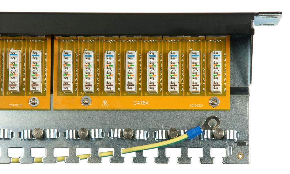 Патч-панель 19 дюймов, 24 порта, RJ-45, категория 6, полностью экранированн